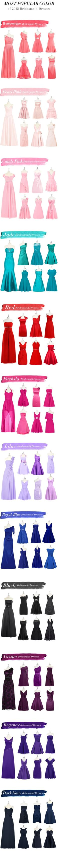 Most Popular Bridesmaids Dress Colors 2015 wedding weddings bridesmaids #wedding-pinned by wedding specialists http://dazzlemeelegant.com