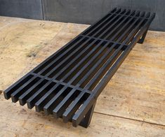 Studio Craft Low Black Slat Bench Coffee Table/Window Platform Plant Stand For Sale at Pier And Beam Foundation, Cool Diy Projects, Garden Projects, Coffee Table Bench, Old Pillows, Modern Planters, Modern Bench, Wooden Slats, Small Backyard Landscaping