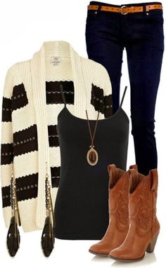 White and black cardigan, black blouse, brown long boots and black jeans for fall Fun and Fashion Blog