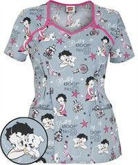 Cherokee Tooniforms Boop No.9 Print Scrub Top Cute Scrubs Uniform, Cute Nursing Scrubs, Scrubs Outfit, Nursing Clothes, Betty Boop, Disney Scrubs, Stylish Scrubs, Medical Scrubs, Scrub Tops