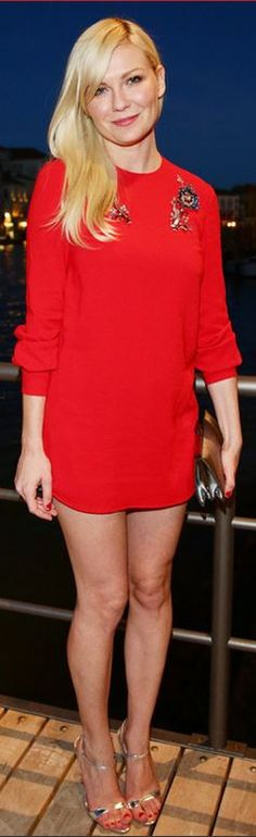 Who made  Kirsten Dunst's red dress that she wore in Venice
