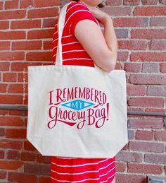 I Remembered my Grocery Bag! reusable shopping bag at Emily McDowell. We love this.
