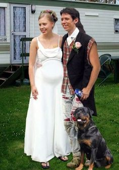 white trash wedding i hope this isnt real but i think it is. She even has a cigarette in her hand!