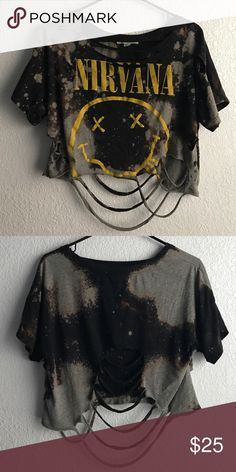 Distressed Nirvana Crop Top Custom made -- distressed Crop top, tags have been washed away during prewash. Tagged for exposure. LF Tops Crop Tops