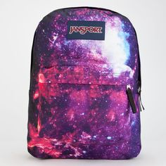 JanSport High Stakes Intergalactic SuperBreak Backpack ($40) ❤ liked on Polyvore featuring bags, backpacks, multi intergalactica, polyester backpack, strap bag, padded bag, purple backpack and jansport rucksack
