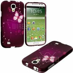 """Purple Sparkly Butterfly Series (2 Piece Snap On) Hardshell Plates Case for the Samsung Galaxy S4 """"Fits Models: I9500, I9505, SPH-L720, Galaxy S IV, SGH-I337, SCH-I545, SGH-M919, SCH-R970 and Galaxy S4 LTE-A Touch Phone"""""""