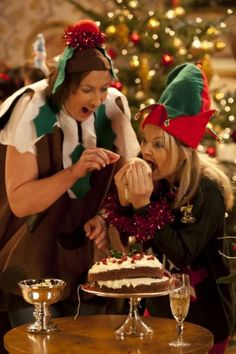 "Day 16 of our Miradvent calendar: Sarah Hadland as Stevie and Miranda Hart as Miranda eating the icing in Christmas special. ""She'll never notice!"" :)"