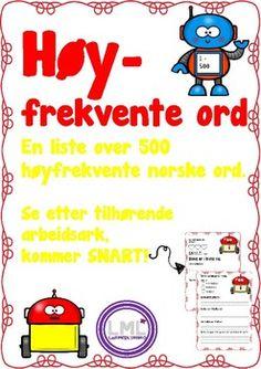 Høyfrekvente ord by LaerMedLyngmo Teacher Pay Teachers, Education, Tips, Advice, Teaching, Onderwijs, Hacks, Studying