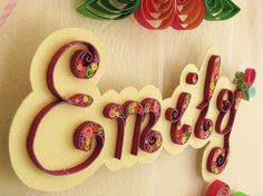Name Banner - Custom Wall Names Quilled - Baby Letters - Baby Room Deco -  Baby Banners - Wall Letters with Flowers Handmade. $45.00, via Etsy.