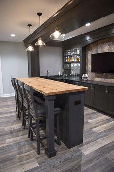 Rustic Basement Bar, Basement Bar Plans, Wet Bar Basement, Game Room Basement, Basement Bar Designs, Home Bar Designs, Modern Basement, Basement House, Basement Makeover