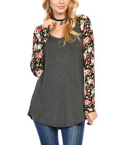 Look what I found on #zulily! Charcoal & Navy Floral Raglan Tunic #zulilyfinds