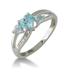 Blue Topaz and Diamond Ring in Sterling Silver 85% off $29.99