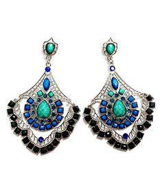 Silver & Turquoise Crystal Vintage Fan Drop Earrings