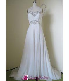 Ivory Strapless Chiffon Sweetheart Neckline Empire Waist Jeweled A-line/Princess Wedding Dress W1332