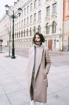 Gray turtleneck & long coat #fall