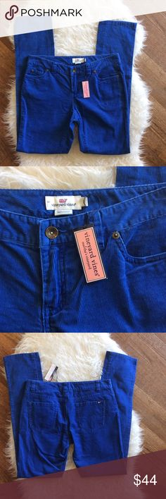 "NWT Vineyard Vines 5 Pocket Skinny Cords New with tags Vineyard Vines skinny leg 5 pocket corduroy pants. Size 2. 100% cotton. Bright royal blue. Waistband 30"", rise 8"", inseam 31"". Leg opening 13"". No trades, offers welcome. Vineyard Vines Pants Skinny"