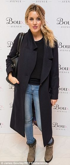 Similar look: Caggie also donned a long coat, black top and skinny jeans...