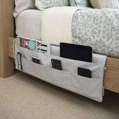 Love these bed pockets for extra storage in the bedroom @istandarddesign