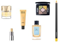 """Mellow Yellow - Smith & Cult Nail Lacquer in The Bee Side, $18, a href=""""http://rstyle.me/n/bk8a7rnwxe"""" target=""""_blank"""">neimanmarcus.com; Make Up For Ever Step 1 Skin Equalizer Primer, $37, sephora.com; Dior Limited Edition 5 Couleurs Eyeshadow Palette in Rose Garden, $63, neimanmarcus.com; MAC Cosmetics Chromagraphic Pencil in Primary Yellow, $17, maccosmetics.com; Prada Olfactories Day for Night, $300, saksfifthavenue.com; Cover FX Correct Click in Yellow, $18, sephora.com"""