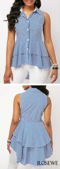 Dip Hem Sleeveless Striped Layered Blouse.#rosewe#blouse#top