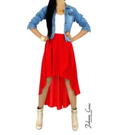 Falda roja cola de pato