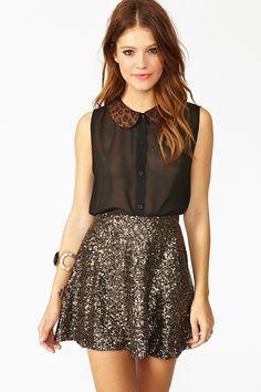 leopard collar sheer shirt & silver sequin skirt