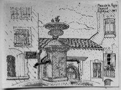Place de la Peyre, Joyeuse, Ardeche. Ink drawing, 1997