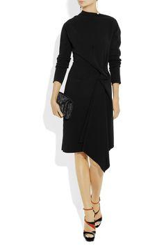 Lanvin|Asymmetric wool-blend crepe dress|NET-A-PORTER.COM