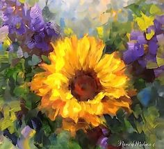 Artists Of Texas Contemporary Paintings and Art - SOLD ~ Step by Step Sunflower Painting ~ Winters End by Nancy Medina