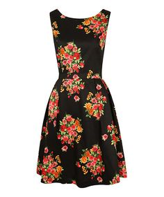 Take a look at this Black & Pink Flower Dress by Louche on #zulily today!
