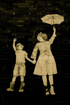 Shot in Seddon, Melbourne. Street art is everywhere in Melbourne, some are great works, some aren't. Though loved this take on 'Mary Poppins' Created and credits by Baby Gerillia. Umbrella Art, Under My Umbrella, Melbourne Street, Melbourne Graffiti, Illustrations, Illustration Art, Outdoor Art, Outdoor Sculpture, Paper Collage Art