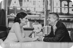 How absolutely adorable are these two love birds taking photos within Henry Ford Museum's Lamy's Diner!!
