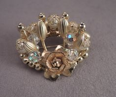 Gold Tone and Crystal Pin c1980s by thejeweledbear on Etsy