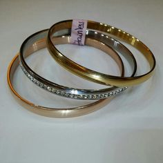 Stainless steel bangles - gold rose gold & silver - Cellucci jewellery