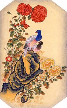 화조도(花鳥圖) 화조도는 꽃과 새가 어우러지고 나비가 나는 아름다운 그림으로 볼 수도 있지만 민화의 대부분은 상징적인 의미를 담고 있다. 부귀와 장수, 벼슬의 승진, 남녀화합 및 다남(多男), 재산이 늘기를 염원하는 마음 등을 소박하게 그린 것이 Korean Painting, Flower Bird, Korean Art, Chinese Art, Japanese Art, Folk Art, Rooster, Oriental, Birds