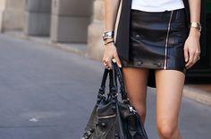 Black leather Skirt. Balenciaga Handbag
