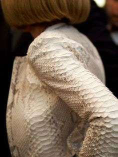 A very close look at Anna Wintours impeccable snakeskin Calvin Klein ensemble #leather #exotic #materiallist