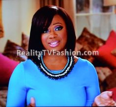 "Kandi Burruss' Turquoise & Black Spike Necklace on ""Real Housewives of Atlanta"""