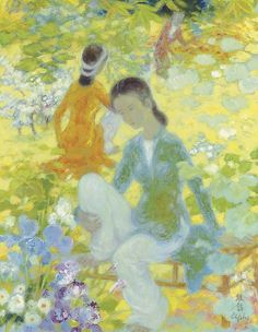 Le Pho  (French, 1907-2001) Two women in the garden