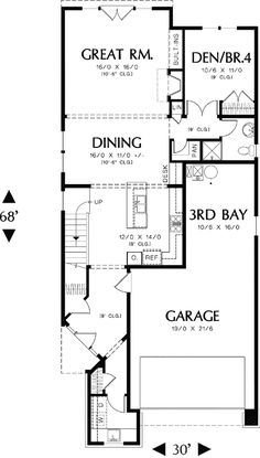 First Floor Plan of Country Narrow Lot House Plan 46427