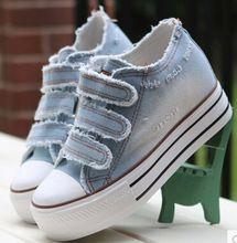 Sapatas das mulheres ata acima sapatas de lona ocasionais mulheres plataforma de primavera verão mulheres denim sapatos p6c169(China (Mainland))