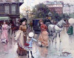 Juan Soler Spanish Impressionist New Realism painter Tutt'Art@ () Spanish Painters, Spanish Artists, Illustrations Vintage, France, People Art, Paris Street, Prado, Mother And Child, Optical Illusions