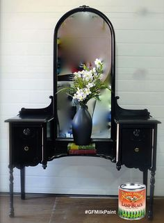 Sleek and modern look from Dresser and Jujubes, https://www.facebook.com/dressersandjujubes?fref=ts, with GF Lamp Black Milk Paint sealed with Satin High Performance Water Based Top Coat.