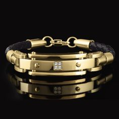 Mens Gold and Leather Bracelet