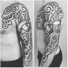 """644 Likes, 15 Comments - Sean Parry (@sacred_knot_tattoo) on Instagram: """"Nordic Celtic wolf on a fellow Welshman! Inspired by the norseceltic metalwork from Viking times.…"""""""