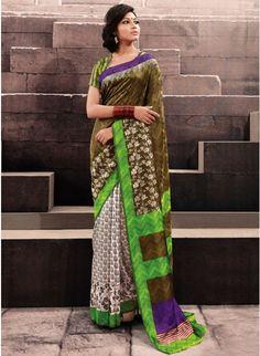 Enigmatic Combination of shades of Green Bhagalpuri #Silk #Saree #clothing #fashion #womenwear #womenapparel #ethnicwear