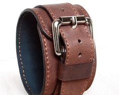 Genuine Leather Bracelet 45 mm, Brown Leather Wristband, Men Women Leather Cuff, Brown Bracelet, Leather Bangle.