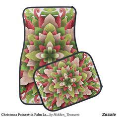 Christmas Poinsettia Palm Leaves Mandala Car Floor Mat Christmas Mandala, Christmas Poinsettia, Car Mats, Car Floor Mats, Making Out, Holiday Cards, Initials, Palm