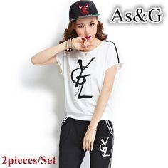 2ピース/セット黒/白女性スーツ女性セット夏カジュアル半袖プリント文字tシャツとパンツスーツプラスサイズ