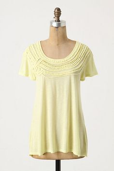 """Aeolian Tee #anthropologie A Common Thread's jersey top is crested with an assortment of braided, beaded and rolled monochrome cords. •Rayon, linen  •Hand wash  •26""""L  •Imported  •Style No. 21267539"""